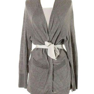 HINGE Gray Heather Soft Long Linen Blend Cardigan